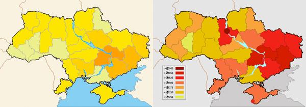 De mørkeset områdene på kartet til venstre er de viktigste industriområdene. Kartet til høyre viser at med unntak av området rundt hovedstaden Kiev, så er det industriområdene som har høyest lønn.