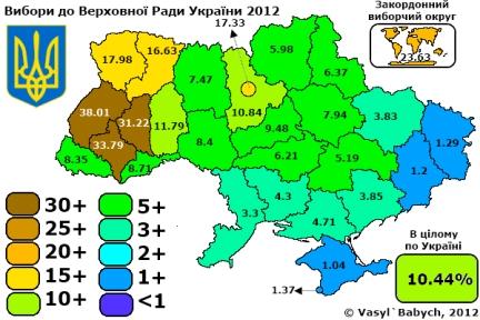 Kartet viser at Svobodas styrke ligger i de vestlige delene av landet